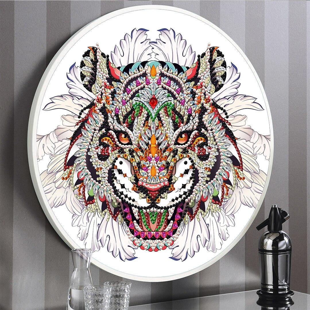 Azqsd 5d pintura diamante ponto cruz tigre padrões redondo emoldurado diamante bordado animal needlework strass kits diy