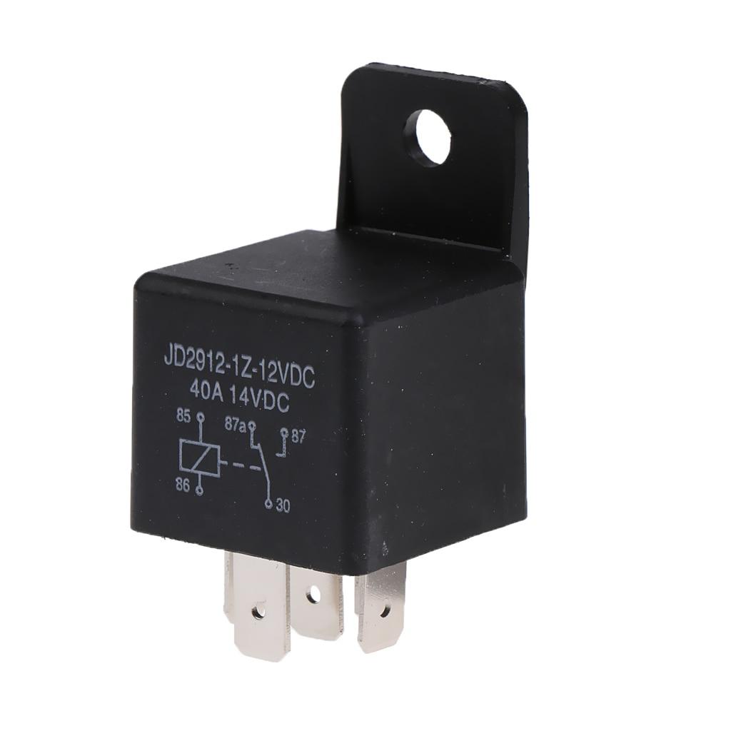 N/O cambio de cambio relé de 5 pines 12V voltios DC 40 AMP con soporte