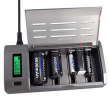 PALO Multi Usage 4 Slots LCD Display Battery Charger For Nimh Nicd 1.2V AA AAA C D Size or 9V Rechargeable Battery Quick Charger