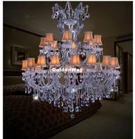 modern crystal chandelier home lighting lustres de cristal decora d120cm h135cm 24l luxury candle chandelier living room pendant