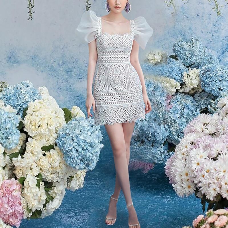 Summer Runway Show Elegant Lace Dress Women White Short Puff Sleeve Square Collar Bodycon Woman Sexy Party Women Dresses Vestido