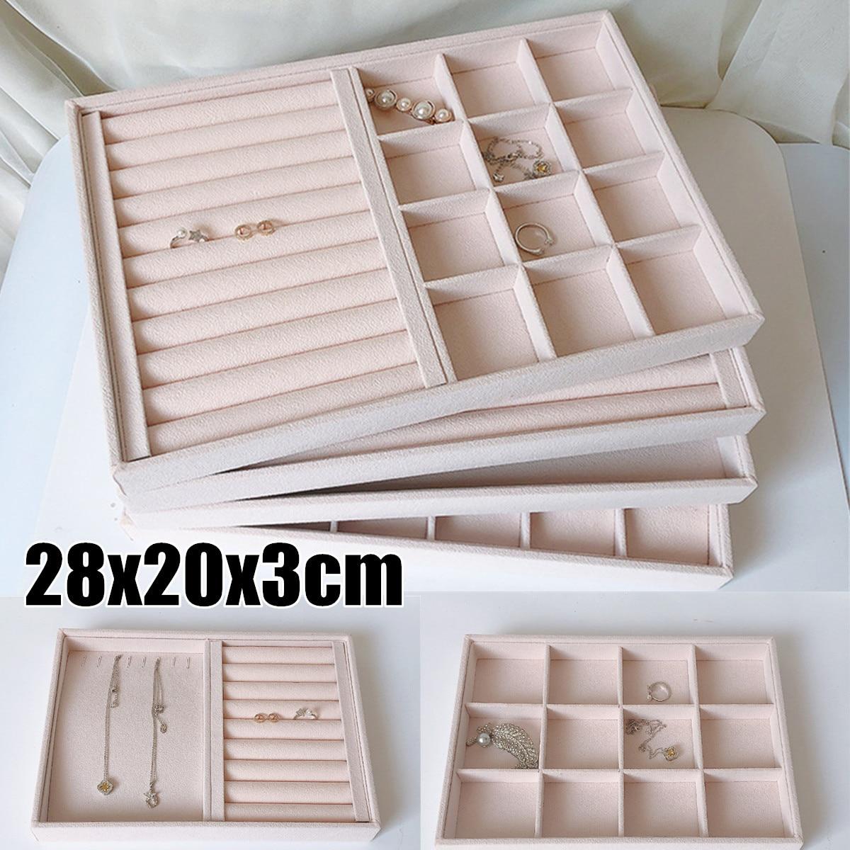 Pink Velvet Jewelry Ring Display Organizer Case Tray Holder Necklace Earrings Bangle Storage Box Sho