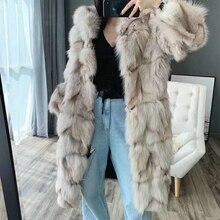 OFTBUY marka 2020 nowych moda długie naturalne prawdziwe futro z lisów kurtka zimowa damska odzież wierzchnia Streetwear grube ciepłe Korea luźne