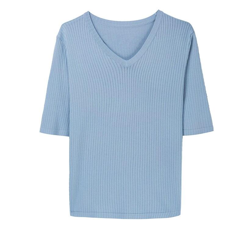 Jersey de seda hielo para mujer, camiseta de manga corta, version Coreana de verano para mujer, cuello en V de manga media salvaje