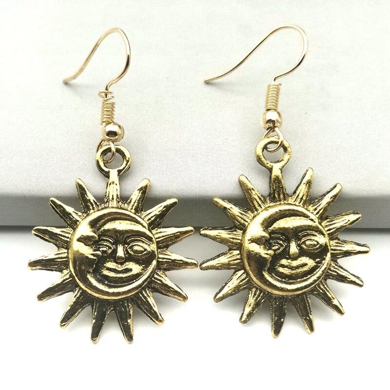 Brincos de lua de sol novos, brincos sem níquel para mulher, presentes de bruxa