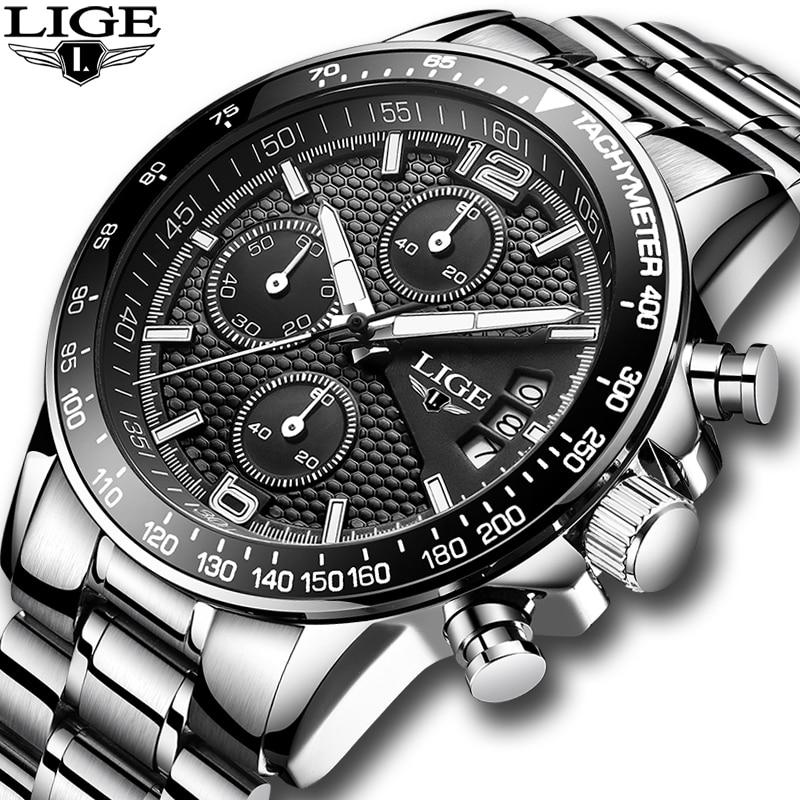 Reloj 2020 para hombres, LIGE, relojes para hombres, marca de lujo, de acero, de cuarzo, reloj deportivo, impermeable, informal, reloj Masculino + caja