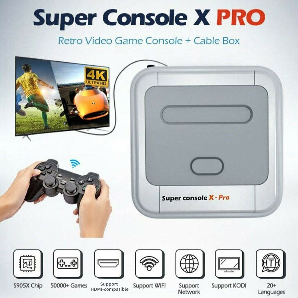 Super Console X-pro HD 4K TV Video Game For PS1/N64/SFC 50+ Emulators 50000+ Games 256GB S905X CPU Game Player