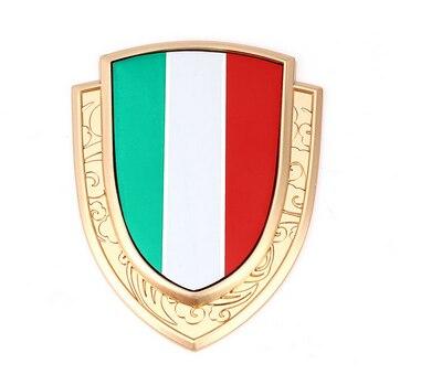 Golden Metal Italy Flag Auto Trunk Window Side Emblem Badge Decals Sticker Car Accessories