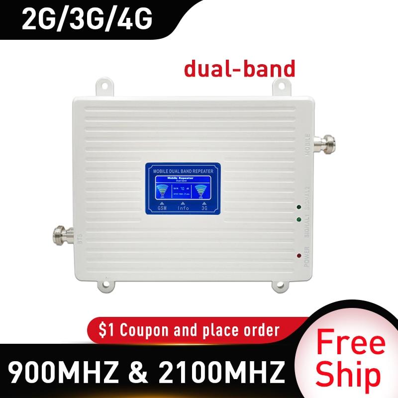 Repetidor 4g, amplificador de señal de banda dual de 900 mhz, 2G, 3G, 4G, GSM WCDMA LTE DCS 4G, repetidor de señal para teléfono móvil