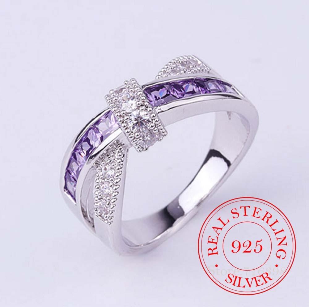 100% Стерлинговое Серебро 925 пробы ювелирные изделия винтажные фиолетовые кристаллы парные серебряные обручальные кольца для женщин и мужчи...
