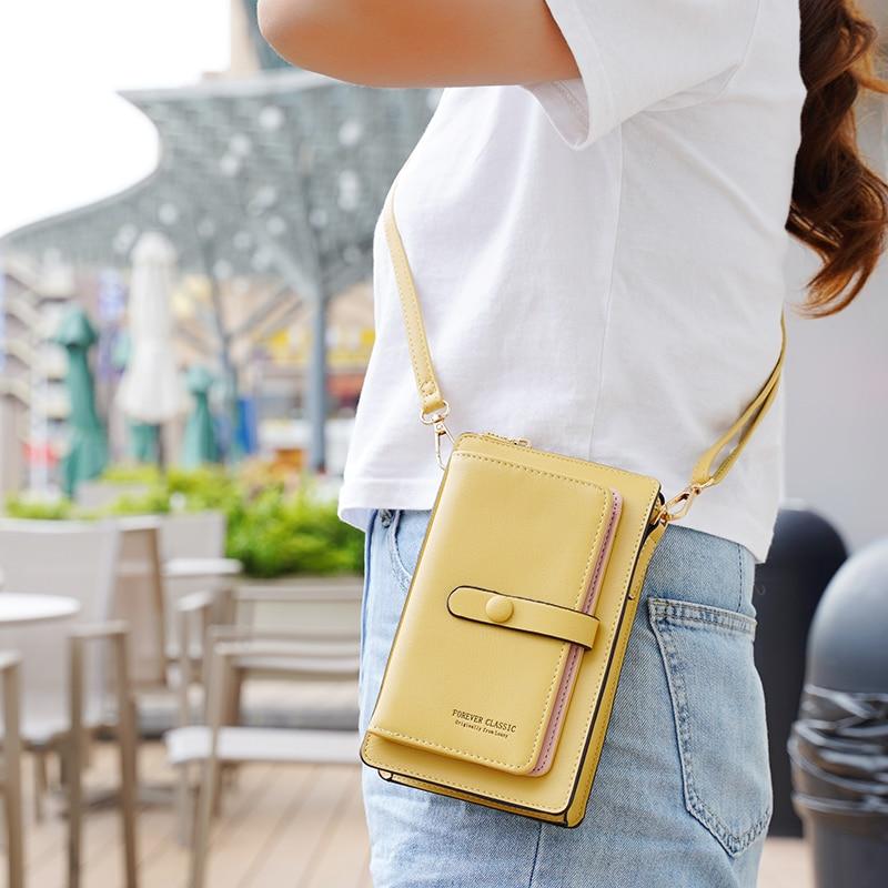 See-through Touch Screen Phone Bag Fashion Small Crossbody Bags Women Mini PU Leather Shoulder Messenger Bag Ladies Phone Purse