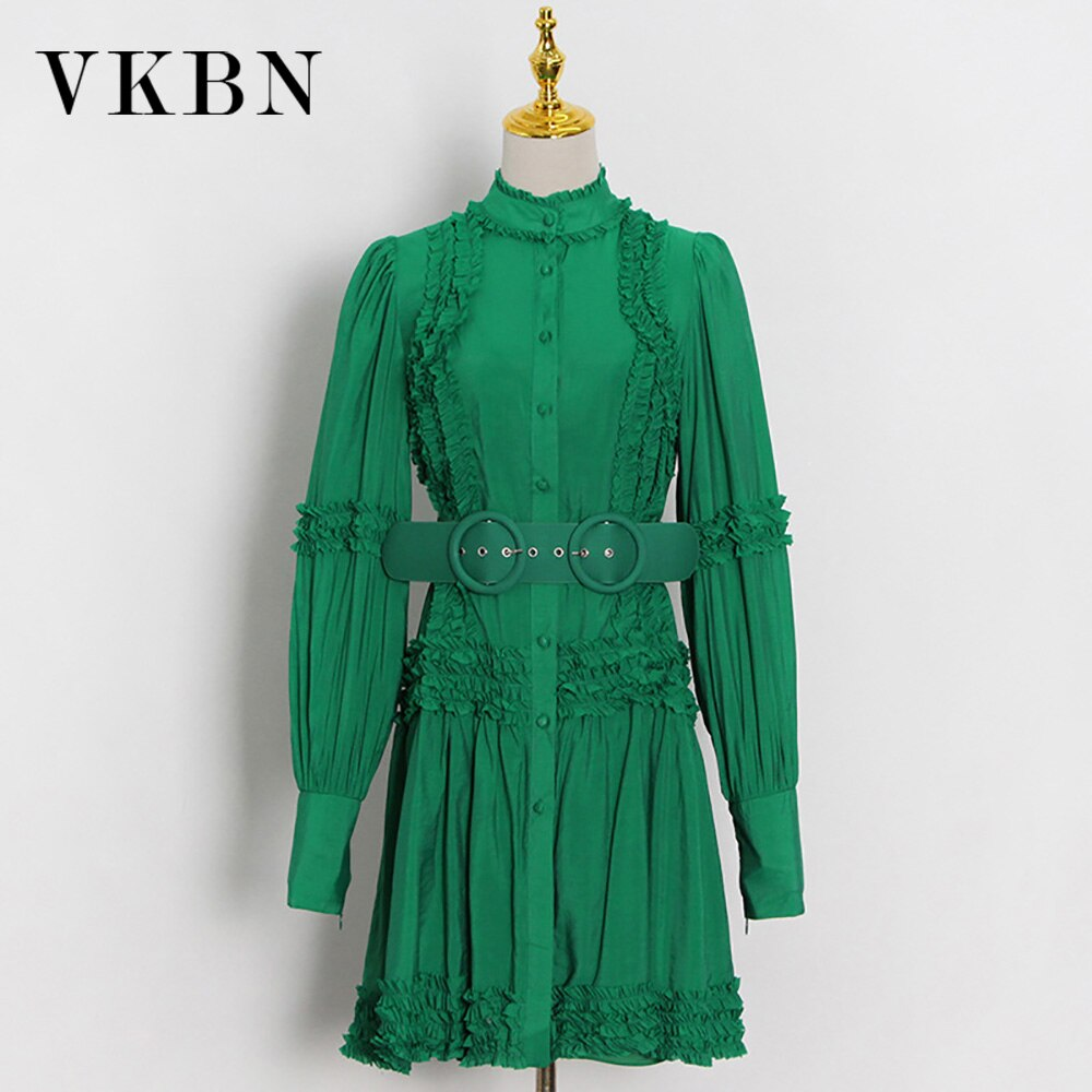 VKBN الخريف فستان المرأة موضة تصميم وشاحات فانوس كم عادية الأخضر الوقوف فستان بكم طويل أنيق Vestidos دي فيستا