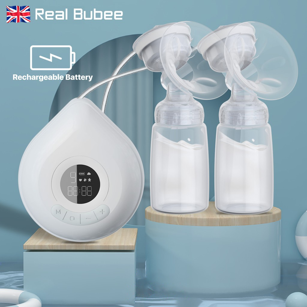 Real Bubee-مضخة صدر كهربائية مزدوجة ، قابلة لإعادة الشحن ، بدون BPA ، 3 أوضاع ، تدليك تلقائي ذكي ، شفط عالي