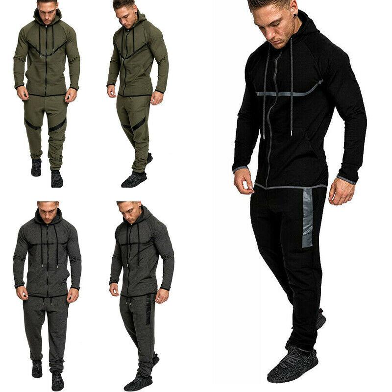 Sudadera con capucha chaqueta suéter conjunto Pantalones para correr gimnasio ropa deportiva Otoño Invierno chándal para hombre
