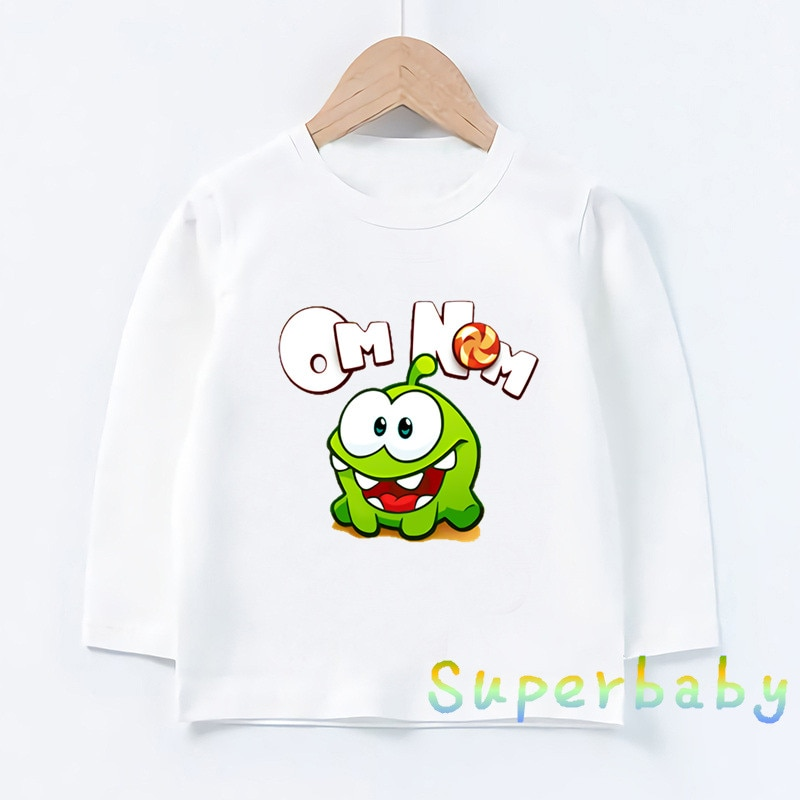 Hot Game Cut The Rope Om Nom Frog Cartoon Print Kids Funny T-Shirts Girls Clothes Baby Boys Long Sle