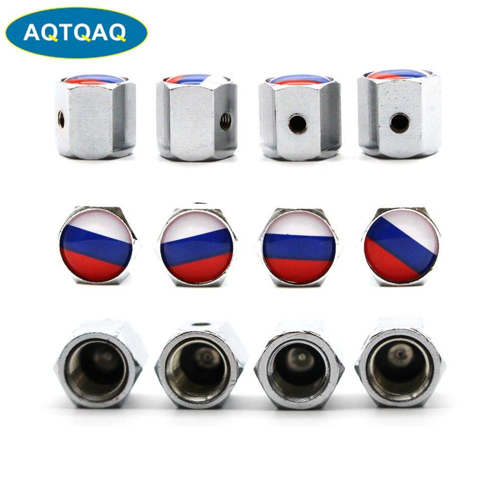 5 unids/set, tapas de válvula de rueda de coche con estilo de aleación de Zinc antirrobo, bandera nacional de Rusia, neumáticos de rueda, vástago de neumático, tapa hermética
