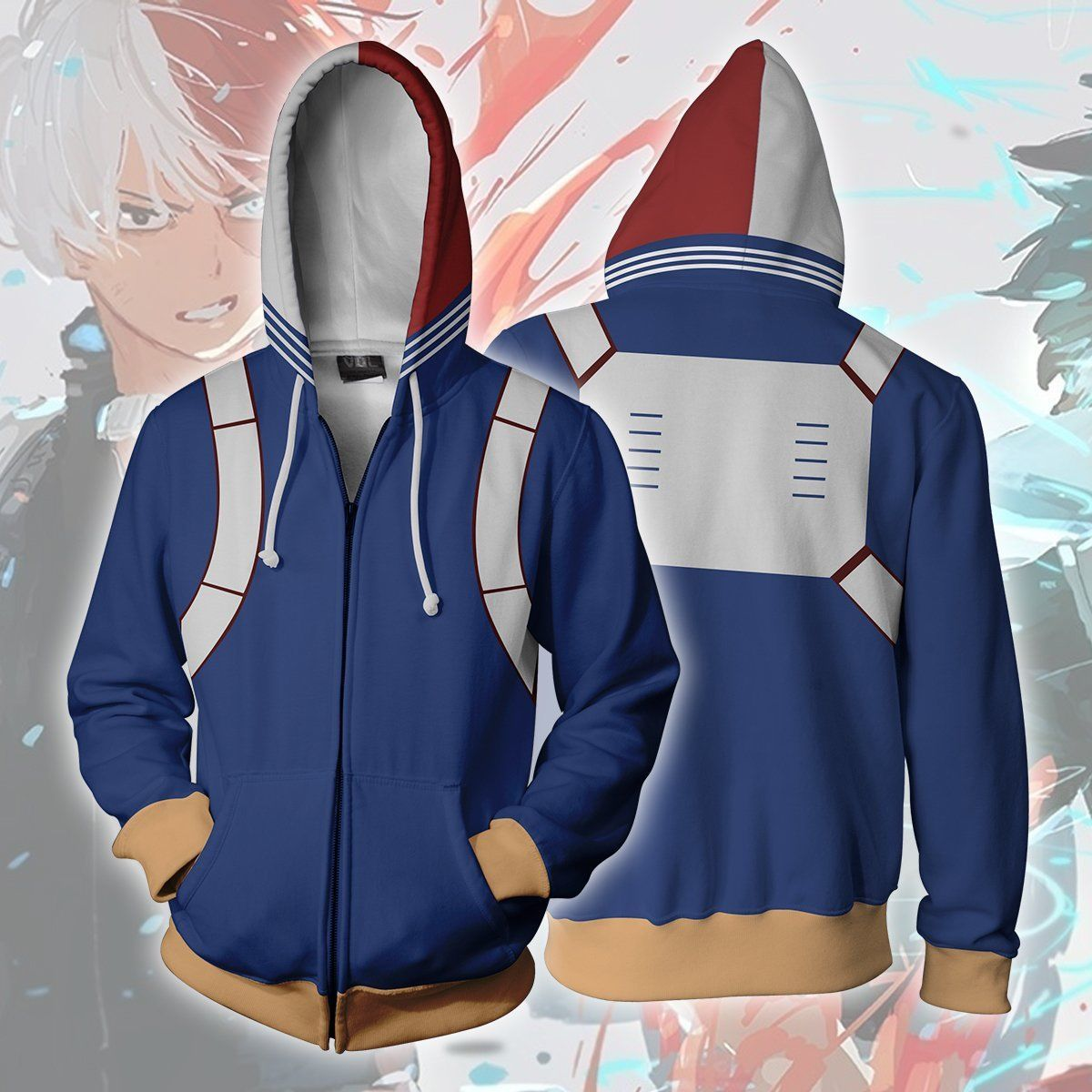 Disfraz mi Boku No Hero Academia Todoroki Shoto con capucha Cosplay chaqueta Anime regalo