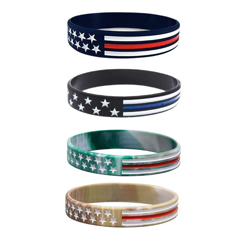 USA Flag Star Silicone Rubber Bracelet Wristband Thin Red Blue White Line Bangle