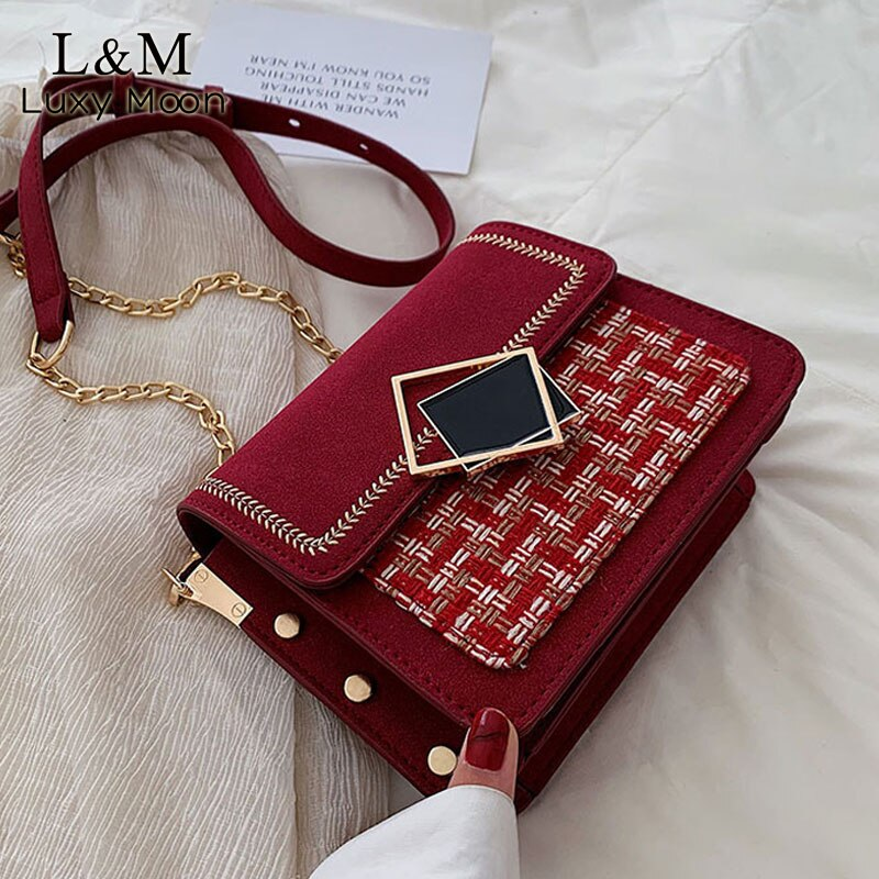 Scrub Leather Crossbody Bags For Women 2020 Panelled Weave Shoulder Messenger Bag Female Chain Luxury Handbags and Purses X39H