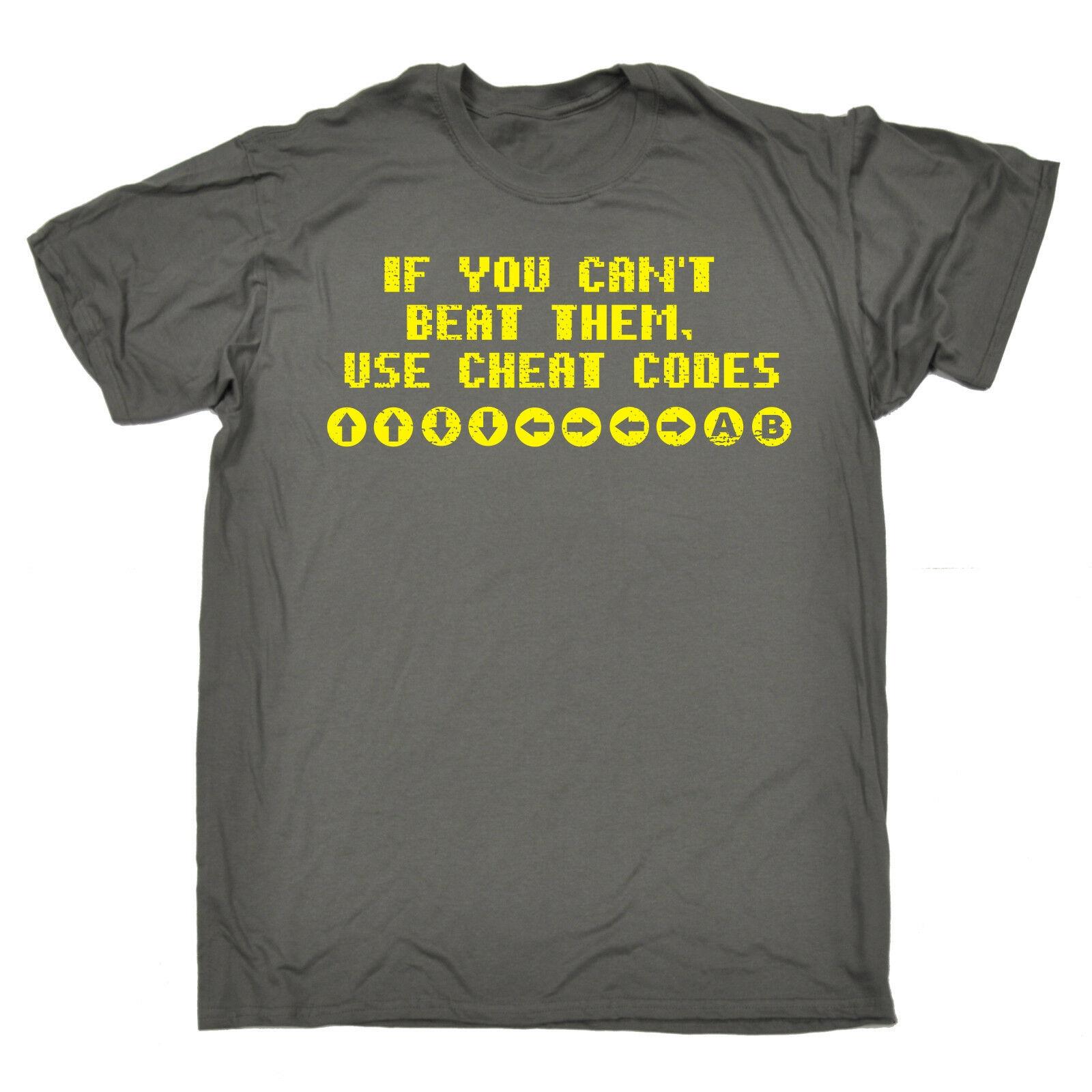 Camiseta para hombre If You can Beat Them Use Cheat Code, regalo de cumpleaños, videojuegos