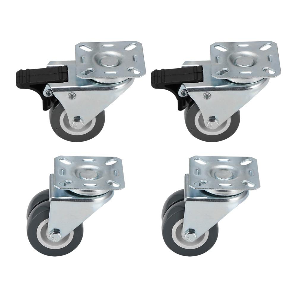 4 قطعة عجلة دوارة الأثاث 360 درجة تدوير الثقيلة واجب أسود دوارة عجلات الخروع عربة فائقة الهدوء عجلات النايلون الخروع