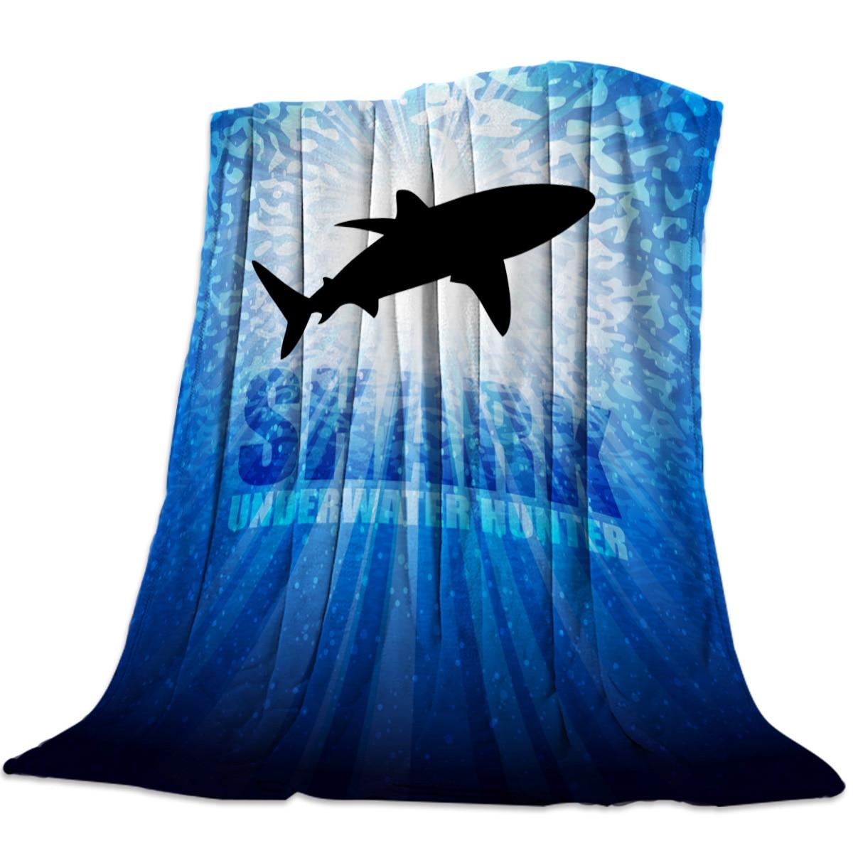 Manta de franela Shark Silhouette Deep Sea para cama sofá portátil suave manta de felpa divertida