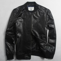 spring avirexmen mens genuin leather jackets and coats fashion badge leather bomber jacket men casual baseball jacket male