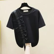 Cute Bowtie Women T Shirt Black White Kawaii Japanese Girl Short Sleeve Tee Female Pullover 2021 New
