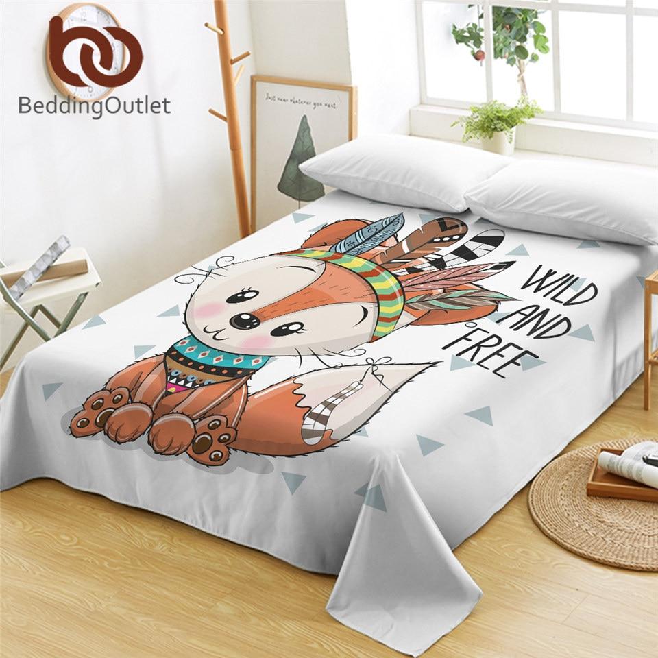 BeddingOutlet-ملاءة سرير برسومات حيوانات ، بنمط ثعلب مزدوج ، مفرش سرير من الألياف الدقيقة مع ريش ازتيك ، قماش قبلي ملون