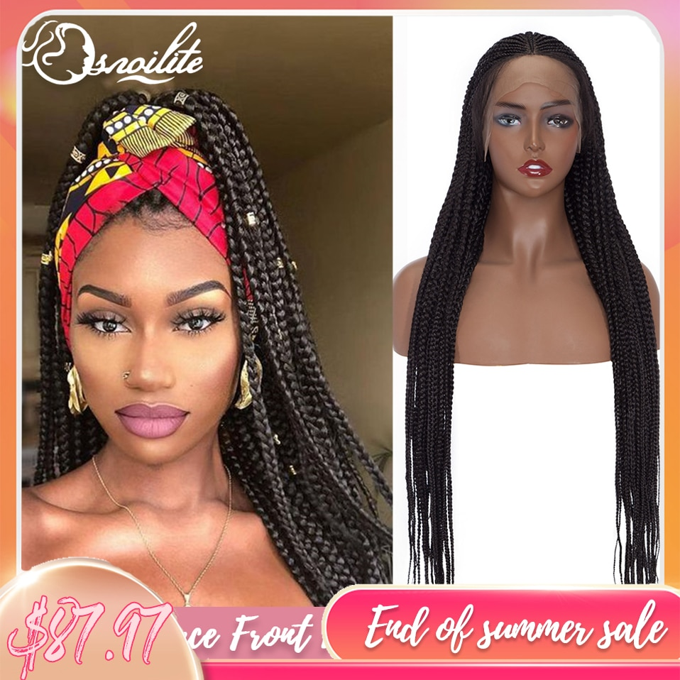 S-noilite 36inch Synthetic Twist Braids Wig Straight Afro Box Braided Hair Wig For Black Women Braiding Hair Wigs With Baby Hair
