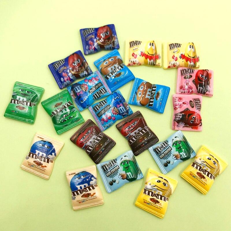 200Pcs Wholesale Japanese Cartoon Resin M Beans Candy Cabochon Flat back Fake Food Kawaii M Bean DIY Phone Deco Part Accessories