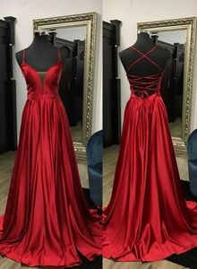 Vkbridal Long Satin Red V-Neck Prom Dresses with Pockets Maxi Party Dresses Sexy Criss-cross Back Formal Evening Gowns for Women