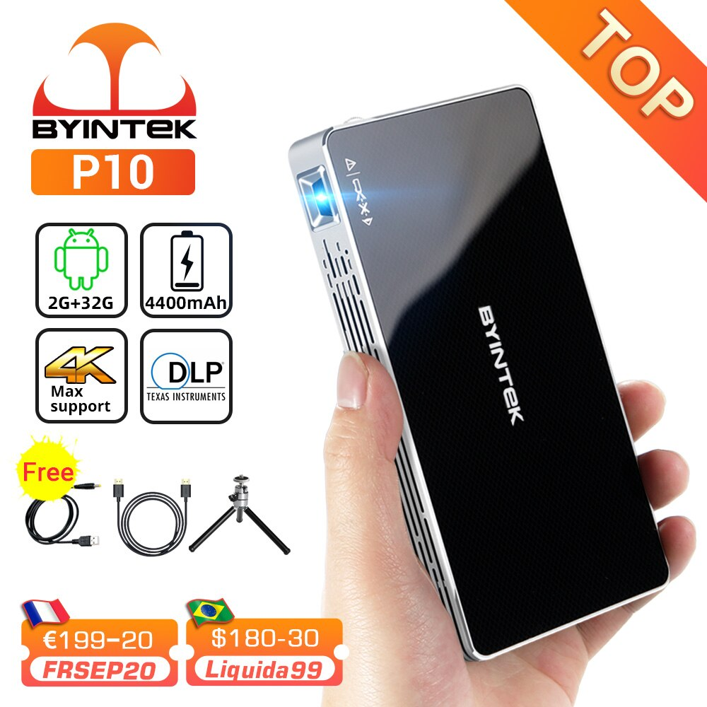BYINTEK P10 Smart Android Wifi Mini Pocket Pico Portable Beamer TV LED DLP Mobile 1080P Projector For Smartphone 4K Cinema