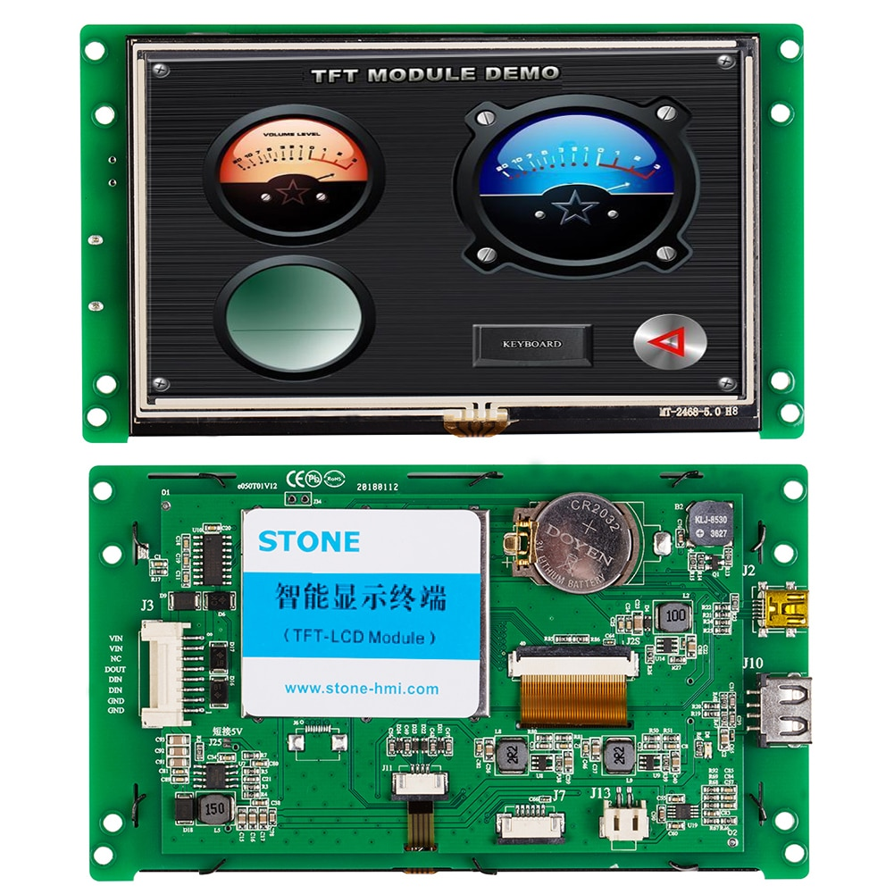 5.0 Inch 480x272 TFT LCD Screen with Serial Interface+Software+4 Wire Resistance for Medical Machine