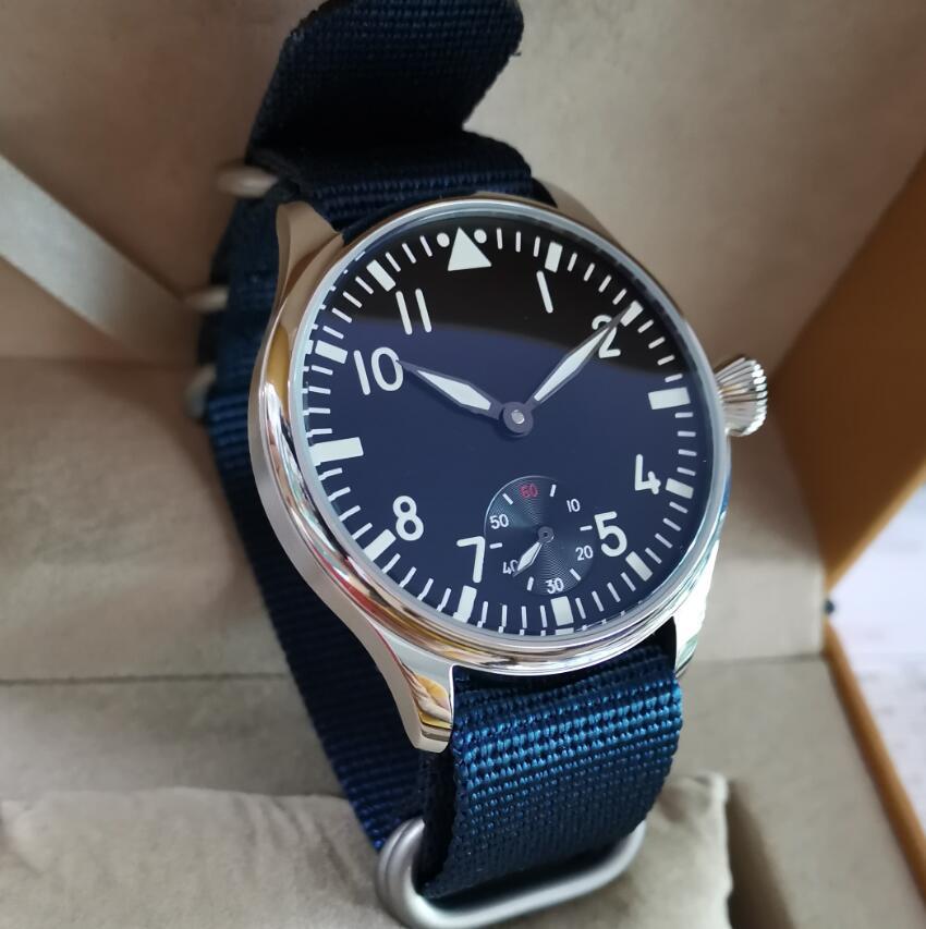 GEERVO No logo Pilot manual mechanical men's Watch 44mm Black dial white number Blue nylon strap Min