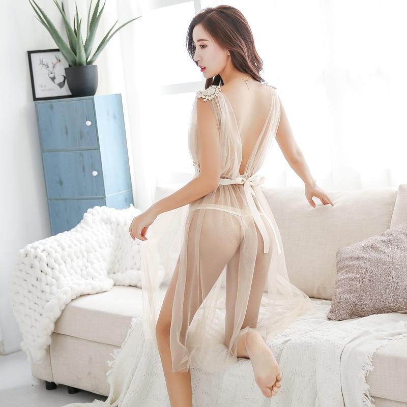 Women Sexy Lingerie See-through Mesh Babydoll Chemise Porno Sex Underwear Dress Transparent Haltter Erotic Lingerie