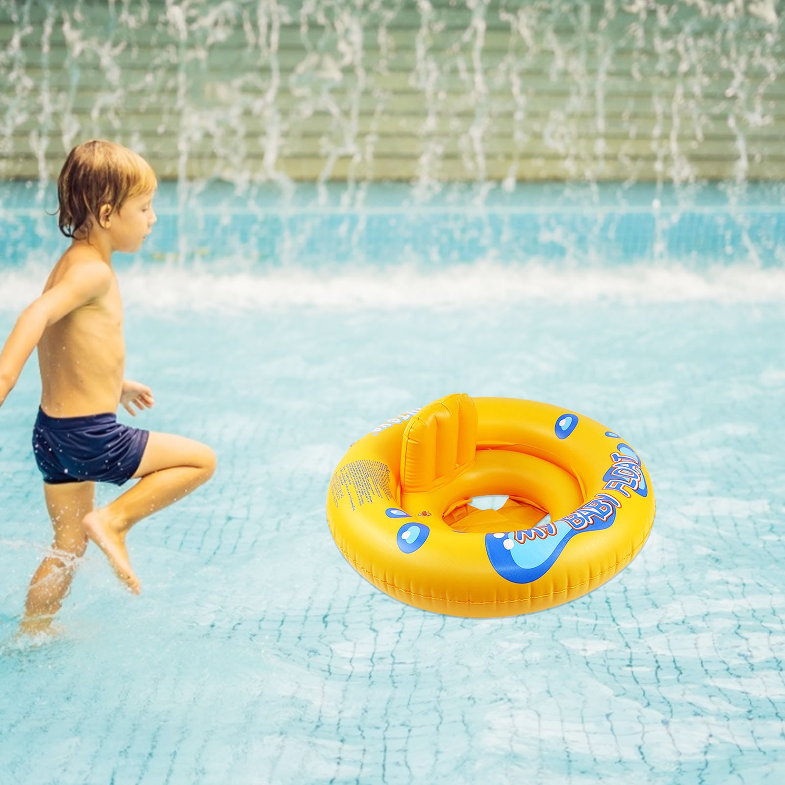 2017 new high quality safety baby need not inflatable floating ring round the neck round floating ring toy baby swimming pool New Summer children's baby floating ring inflatable round swimming seat cartoon swimming ring outdoor swimming pool toy #