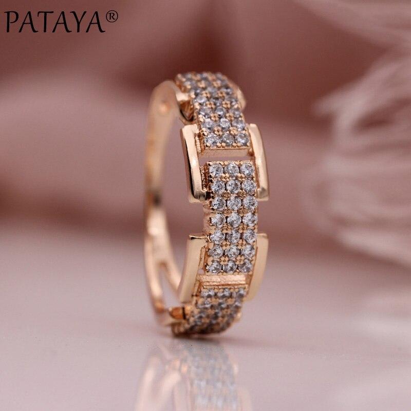Pataya Новые поступления три ряда круглый белый натуральный циркон Кольца Для женщин свадьбу 585 розовое золото лаконичные ювелирные изделия Интимные аксессуары