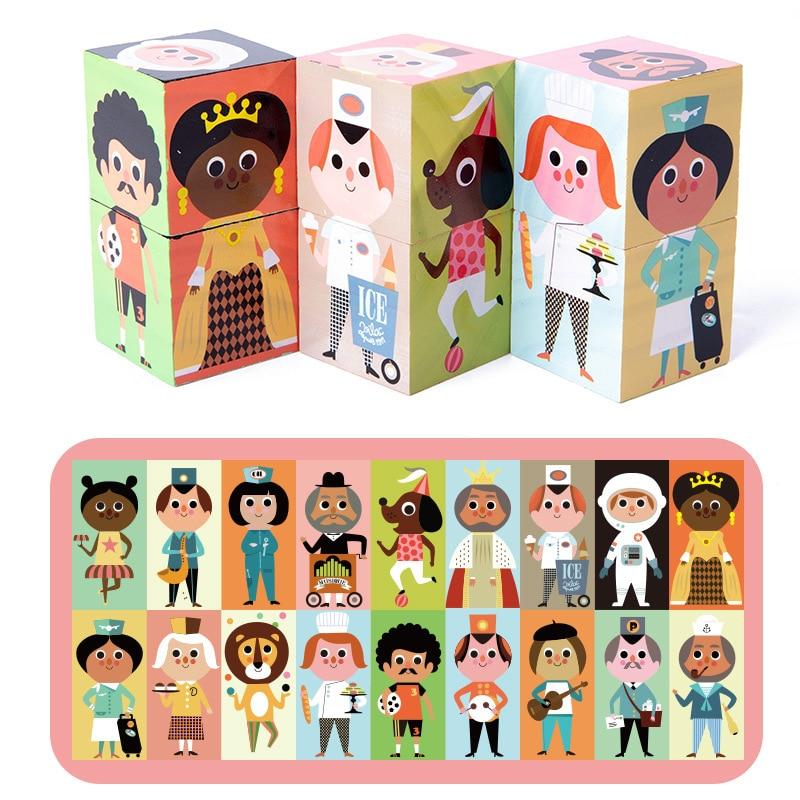 Puzle 3d educativo para niños de 9 piezas y 6 lados de madera, gran oferta