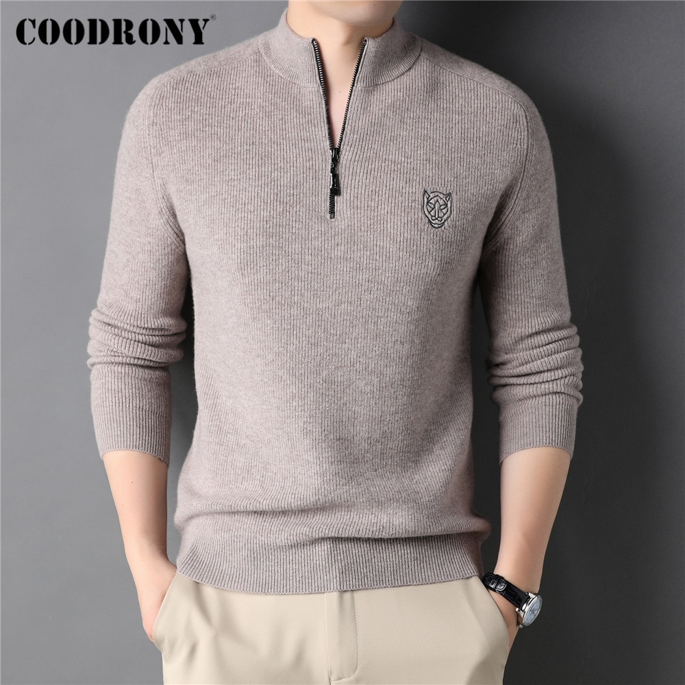 COODRONY Winter Thick Warm Fashion Zipper Turtleneck Sweater Men Clothing Knitwear 100% Merino Wool Cashmere Pullover Male C3154