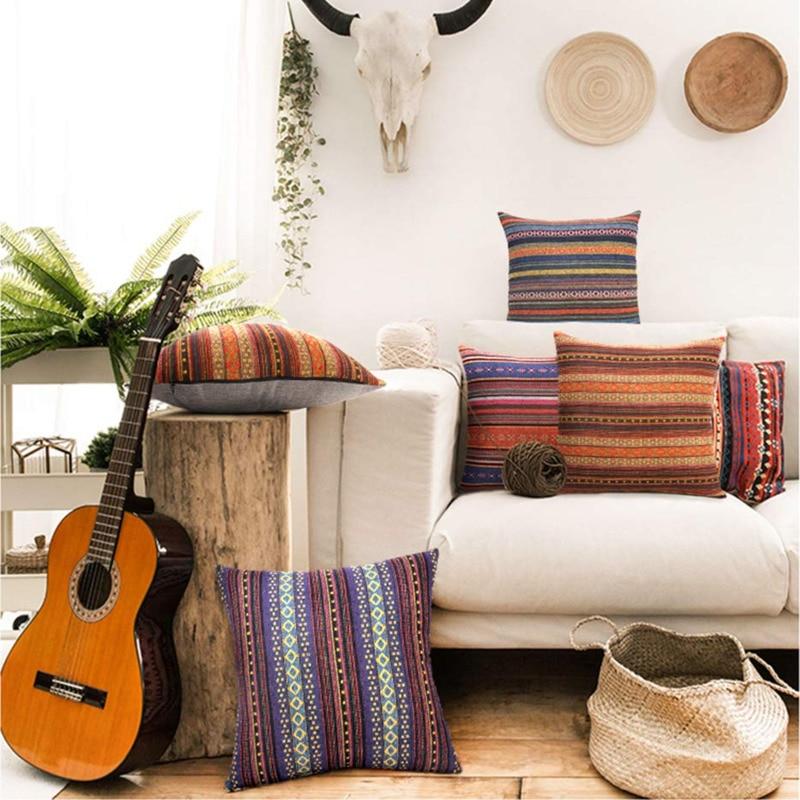 Almohadas decorativas Retro bohemio a rayas funda de almohada para sofá cama, Juego de 4 Fundas de cojín de lino de mezcla