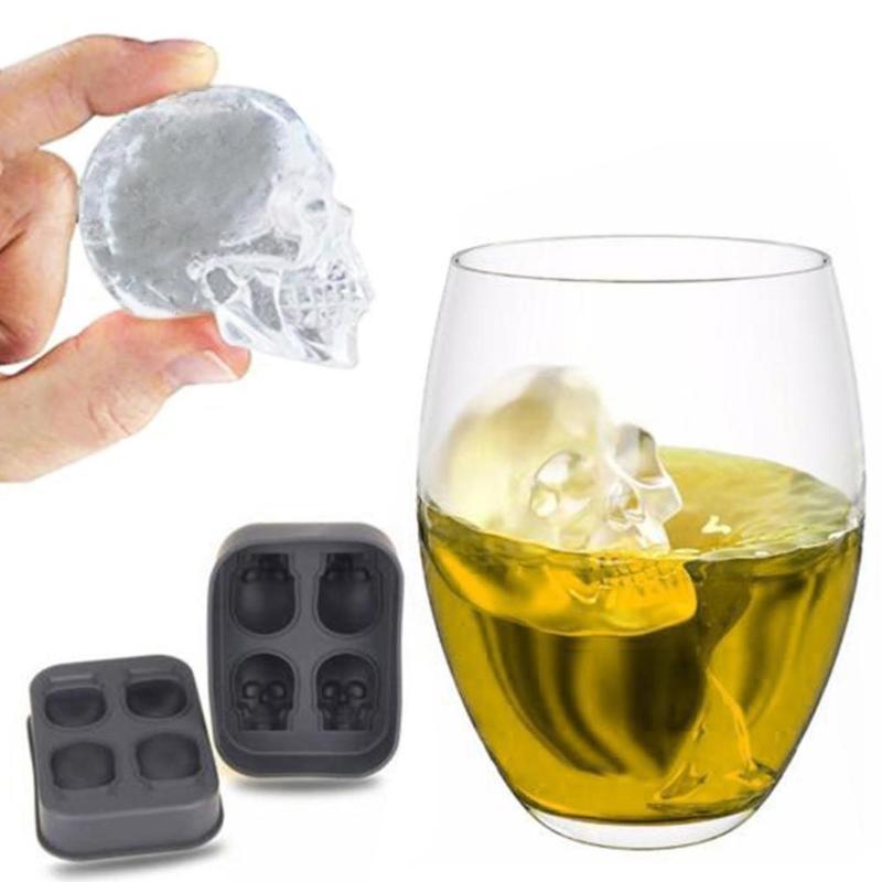 4 отверстия череп кубик льда чайник 3D кости мяч конфеты бар кухонные инструменты