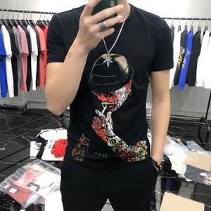 High quality Men summer Printed t-shirts fashion Cotton short sleeve European style Large size 5XL