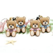 Cartoon leather String Bear Key chain Pendant Creative Cute Cartoon Doll Keychains Women Bag Car key Ringchildren's Gift toys