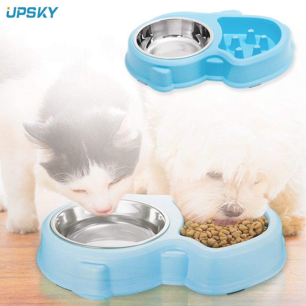 Cuenco comedero lento UPSKY 2 en 1 para perros con cuenco de agua de acero inoxidable que evita la obesidad, cuencos de agua antideslizantes para perros y gatos comedero perro