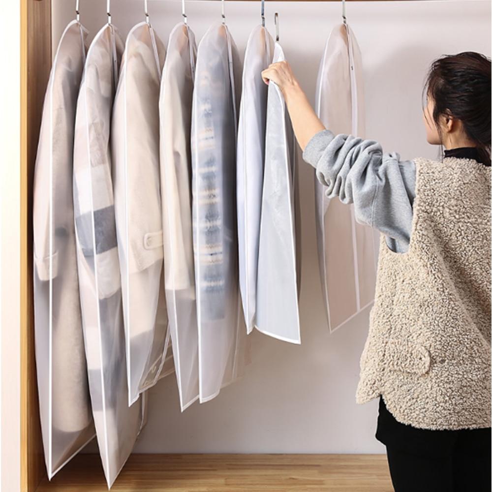 5 pçs/set portátil roupas cabide vestido terno casaco capa de poeira sacos armazenamento translúcido do agregado familiar sacos guarda-roupa cabides