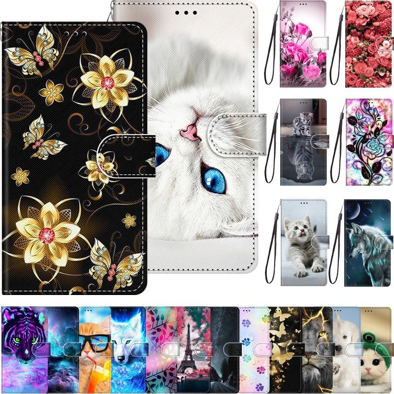 Wallet Case For Alcatel 3V 5099D Flip Case With Luxury Cute Cartoon Paint Leather Case For Alcatel 3 V 3v Phone Case Card Holder