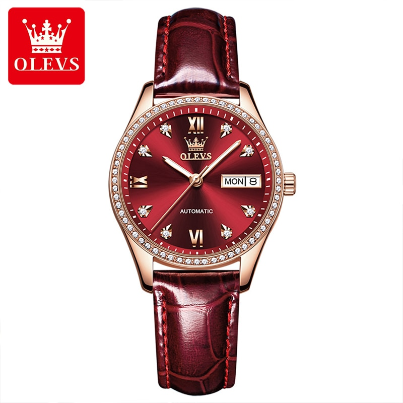 OLEVS New Women Fashion Mechanical Diamond Day Date Display Casual Fully Automatic Luminous Watch Hands Waterproof Watches 6637 enlarge