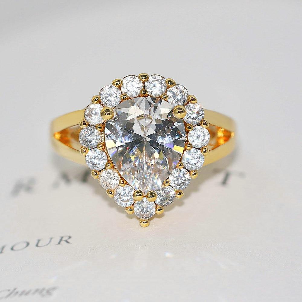 Anillos de Color dorado amarillo doble FairVintage para mujeres gota de agua AAA + CZ cristal anillo de compromiso de boda joyería de moda R626