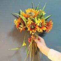 Bouquet de fleurs artificielles en soie  1 Bouquet  fausse fleur de tournesol  decoration de mariage  arrangement Floral de fete
